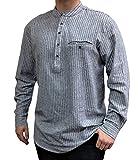Lee Valley - Genuine Irish Striped Cotton Flannel Grandfather Shirt - Men's (Small, Grey)