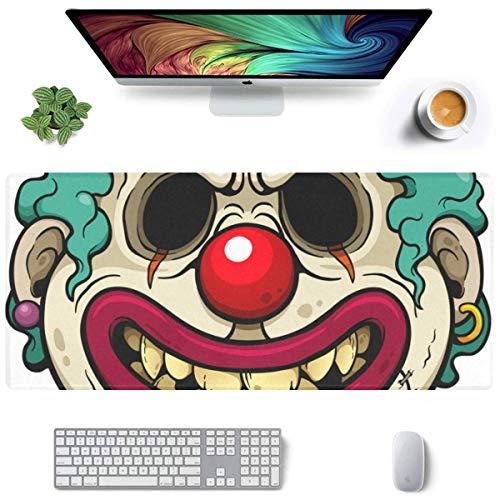 Alfombrilla de ratón para Ratones de 35 x 16 Pulgadas, diseño de Payaso de Dibujos Animados con Cara de Zombi, Alfombrilla para Juegos para PC, Alfombrilla de Goma Antideslizante, Escritorio para jue