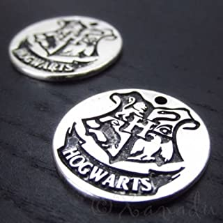 Decoration Harry Potter Hogwarts Crest Antiqued Silver Plated Charms CC2019-2,