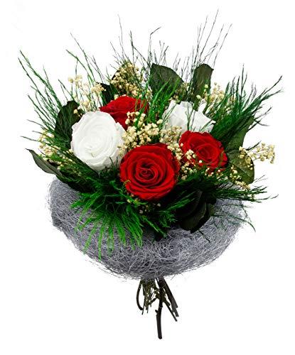Pure-Difference - Echter Infinity Rosenstrauß mit 3 Roten & 2 Weißen Infinity Rosen, Schleierkraut & echten konserviertem Bindegrün - Ewiger Blumenstrauß mit Liebe handgefertigt