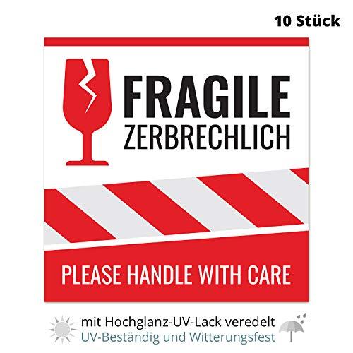 10 Aufkleber fragile, Vorsicht zerbrechlich, Achtung Glas, Bitte nicht werfen, 10,5x10,5cm – Please handle with care Etiketten