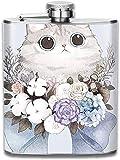 wonzhrui Cat Flower 3D Print Hip Bottle 7oz Portable Pocket Bottle Bag Bottle Camping Stainless Steel Wine Bottle Suitable Unisex