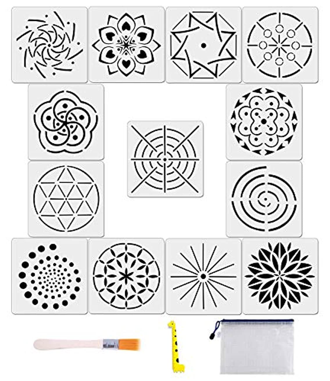 13 Pack Mandala Dot Painting Templates Stencils for DIY Painting Art Projects with Storage Bag/Art Brush/Ruler