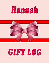 Hannah Gift Log Book: Hannah Gift Record Keeper, Guest Book, Gift Tracker Notebook, Gift Registry Recorder & Organizer, Pr...