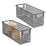 mDesign Juego de 2 cestas de almacenaje multiuso – Cestas organizadoras altas con asas – Cestas metálicas de alambre y compactas para cocina, baño, oficina y otras estancias – negro mate