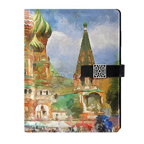 Cuaderno de notas de cuero para escribir diario, cuaderno de viaje, Catedral de Rusia, rellenable, tamaño A5, encuadernador de anillas – tapa dura, regalo para mujeres y hombres