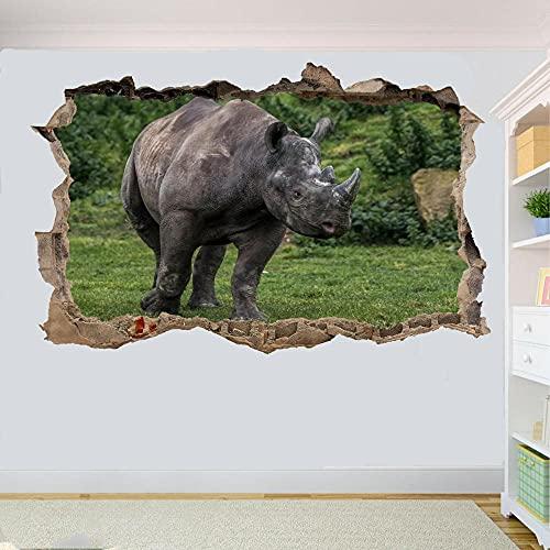 Etiqueta De La Pared 3D - Pegatina De Pared DeAnimales Salvajes RinoceronteMural Vinilos Pared, Decoracion Hogar 80x125cm