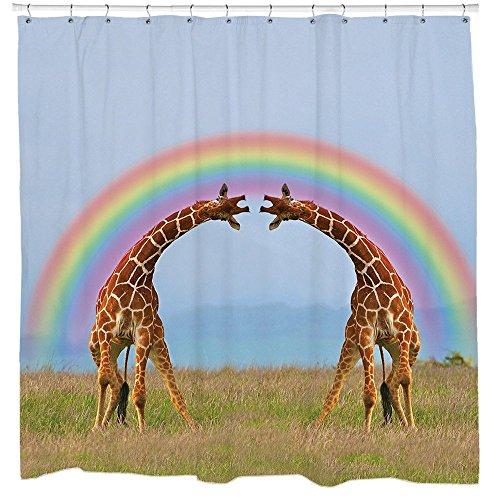 Giraffe Double Rainbow Duschvorhang von Sharp Shirter, Polyester, multi, 180 cm x 188 cm(Standard)