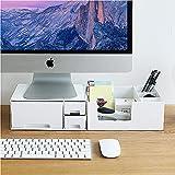 YYHDD Einfach Hölzerner Bildschirmständer Monitorerhöhung Schreibtischaufsatz Platz sparen Ergonomisch Bildschirmerhöher mit 2 Schubladen für Laptop Bildschirm Drucker