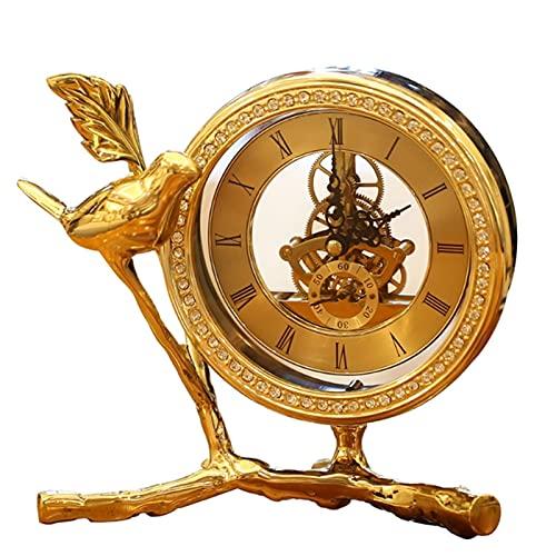 YTRED Decoración para el hogar Reloj Figurita Adornos Cobre Puro Decoración de Escritorio para Sala Estudio Sala Decoración del Hogar