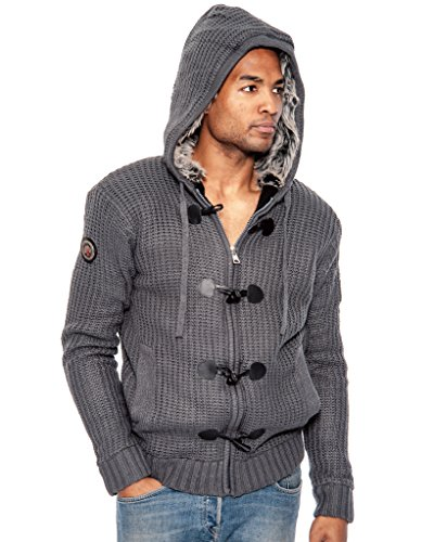 True Rock Men's Front Zip Fur Lined Hoody Sweater-Charcoal-Medium