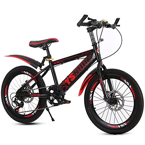 Mountainbike Fahrrad 20 Zoll jung & mädchen kohlenstoffstahlrahmen mit doppelscheibenbremsen vorne und hinten Kinder BMX mit Einer höhe von 120-145 cm (Rot,20 Zoll)