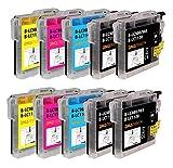 Amaprint 10 XL Cartuchos Compatible con Brother LC1100 para DCP-145c DCP-195c DCP-165c MFC-250c MFC-490cw MFC-5490cn MFC-5890cn MFC-6490cw MFC-255cw MFC-290c MFC-295cn MFC-297c