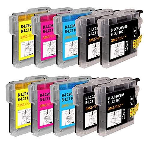 Amaprint 10 XL Patronen kompatibel mit Brother LC1100 passend für DCP-145c DCP-195c DCP-165c MFC-250c MFC-490cw MFC-5490cn MFC-5890cn MFC-6490cw MFC-255cw MFC-290c MFC-295cn MFC-297c