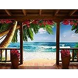 Runa Art Carta da parati fotografica Spiaggia e mare palma Moderno Vello Soggiorno Camera Da Letto Sala - Made in Germany - Blu Marrone Rosso 9114010c