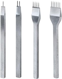 4 Pièces Outils D'Artisanat en Cuir, 3mm 1/2/4/6 Broches Outils de Trou de Perforation en Métal Lacage Couture Ciseau en A...