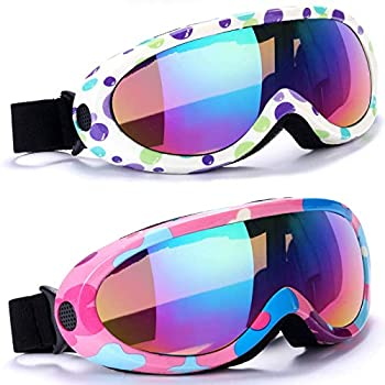 Ski Goggles Pack of 2 Snowboard Goggles for Kids Boys & Girls Youth Men