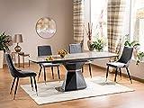 LUENRA Mesa de comedor rectangular (extensible), placa de cerámica gris efecto mármol mate patas antracita 160 (210) x 90 x 76 cm, acero cepillado