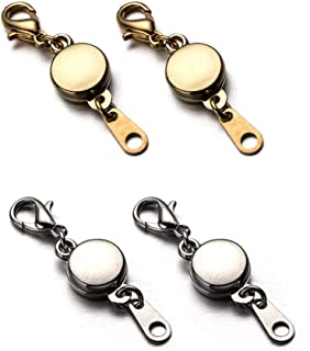 ZPsolution Locking Magnetic Jewelry Clasp for Necklace and Bracelet - Set of 4 Glod and Silver