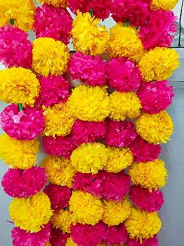 Artificial Yellow and Pink Marigold Flower Garlands 5 Feet Long for Parties Indian Weddings Indian Theme Decorations Home Decoration Photo Prop Diwali Indian Festival