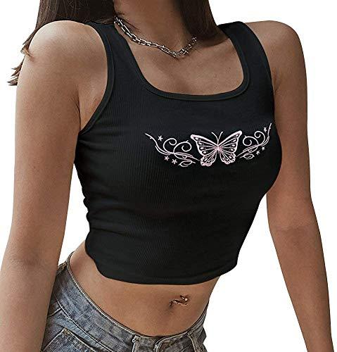 Chaleco de cuello en U, bordado de mariposa de moda expuesto ombligo sin mangas Tops