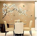 HALLOBO® Wandtattoo Wandaufkleber XL Vogel Blumen Pfirsichblüte Wandsticker Wohnzimmer Schlafzimmer Deco Wall Sticker Home Dekor