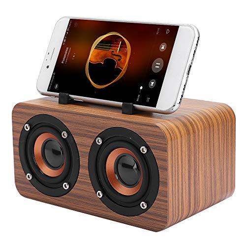 Altavoz Bluetooth portátil, Altavoz de madera vintage inalámbrico, Altavoz retro, Admite reproducción de tarjeta de memoria(Earth wood grain)