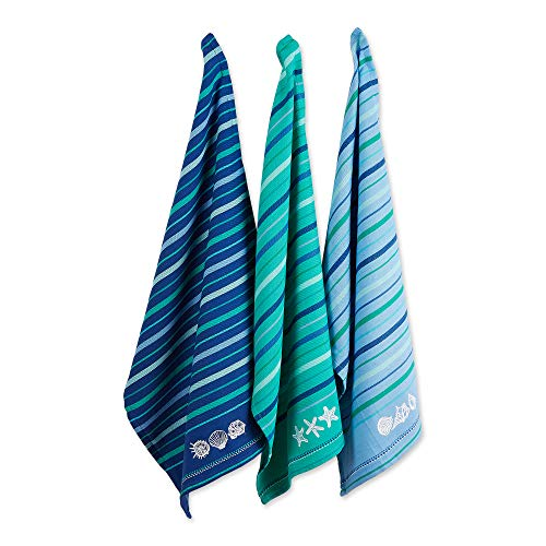 DII Cotton Embroidered Blue Sea Dish Towels, 18 x 28 Set of 3, Decorative Oversized Kitchen Towels for Everyday Cooking and Baking