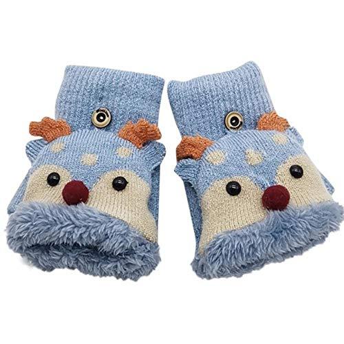 Lonfenner Natale Inverno Mezze Dita Corna A Fogli Mobili Per Bambini Capote Moda Confortevoli E Guanti CaldiF