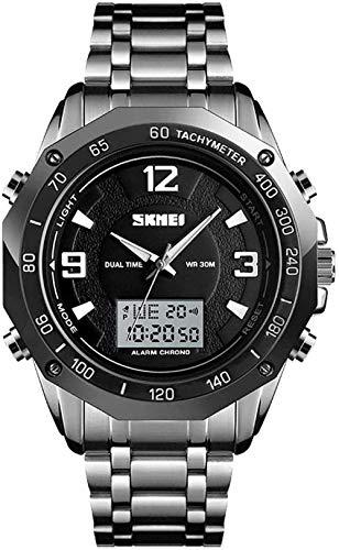 Negocio doble pantalla reloj electrónico correa de acero hombres jóvenes s moda reloj-Plata-Negro-Plata