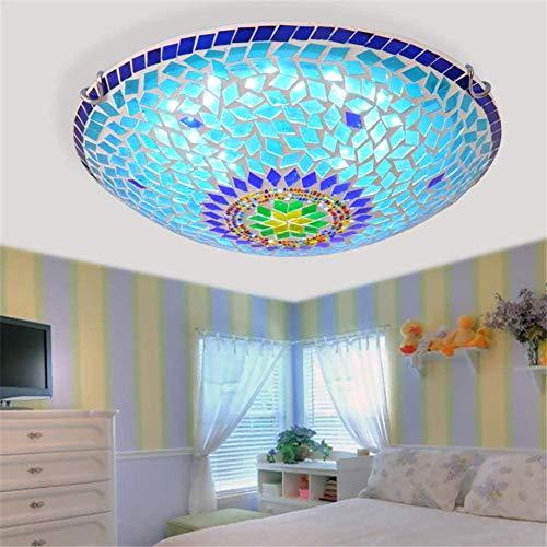 Deckenleuchte Im Böhmischen Stil, Deckenleuchte Aus Mediterranem Mosaik Mit 16-Zoll-Glasschirmlampe Für Die Küche Im Flurtreppen-Veranda-Schlafzimmer