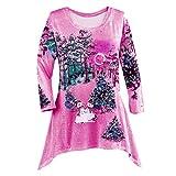 IMJONO T-Shirt Manche Longue Femme Sweatshirt Noël Pullover Hiver Festivel Noël Hauts Femme Grande Taille Irrégulier Ourlet Haut Pas Cher Chemisier(Rose Vif,XXXXXL