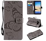 Amocase Wallet Leather Case with 2 in 1 Stylus for Samsung Galaxy Note 8,Premium Strap 3D Butterfly Magnetic PU Leather Stand Shockproof Card Slot Case for Samsung Galaxy Note 8 - Gray