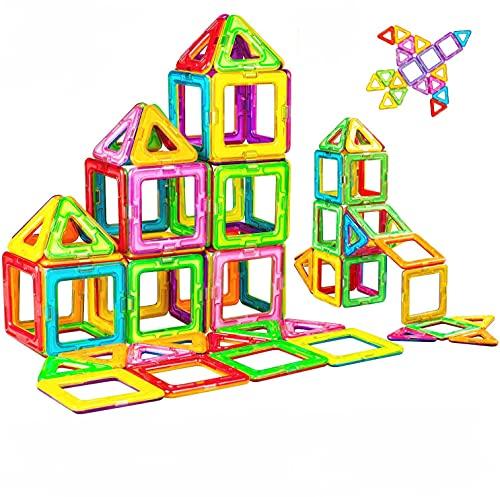 BYBOT Magnetische Bausteine 50 STÜCKE Magnetische Fliesen Set STEM Baustein Pädagogische BAU Stapelspielzeug für Kinder Jungen Mädchen
