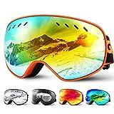 Glymnis Skibrille Snowboard Brille Schneebrille Doppel-Objektiv Schutzbrillen UV-Schutz Anti-Nebel Winddicht für Skifahren Skaten Damen und Herren Jungen und Mädchen mit Reißverschlussbox Orange