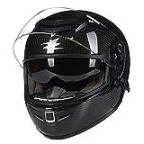LALEO 12K Fibra de Carbon Casco Moto Modular Integral, Doble Visera Ultraligero Alta dureza Transpirable Mantener Caliente Unisexo Hombres Mujeres Adulto ECE Certificado M-2XL (54-62cm),XXL