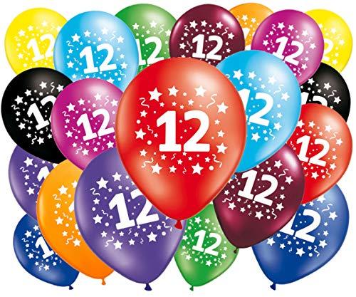 FABSUD Luftballons zum Geburtstag, 12 Jahre, 20 Stück