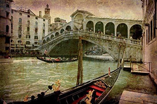 Puente de Rialto en Venecia Puzzle de Madera de 1000 Piezas para Adultos Rompecabezas para Niños Adolescentes Regalo Cumpleaños Navidad para Niños Adultos