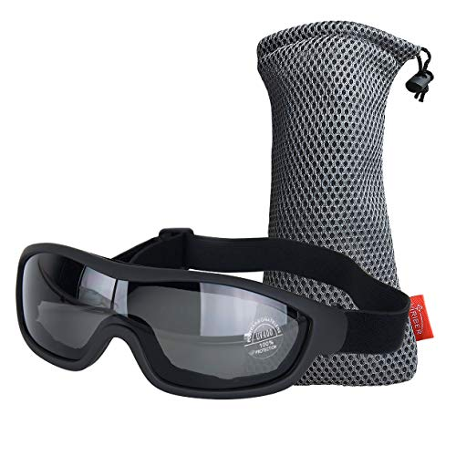 Viriber Motorcycle Goggles Bike Goggles UV Protective Outdoor Glasses Dust-proof Protective Combat Goggles Military Sunglasses Outdoor Tactical Goggles (Black-Safety Goggles)