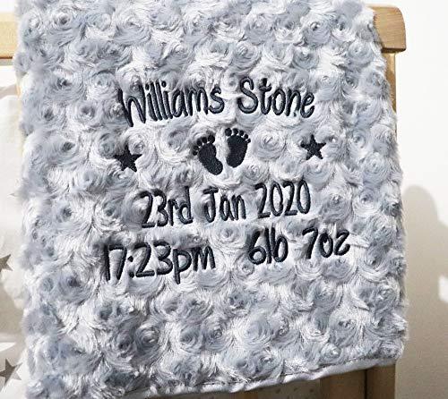 Personalised Baby Blanket Luxury Rosebud Style Grey Round Font Name Date...