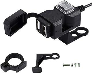 ZMAYASTAR バイク USB電源 USB充電器 USB2ポート 携帯電話 充電器ソケット 電源ON/OFFスイッチ 防水カバー ハンドルやサイドミラーに取り付け可能 ZM-USBDY-02