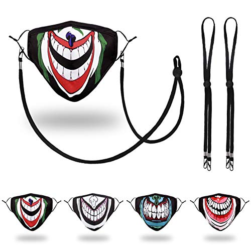 Wulcea Designer Reusable Cloth Face Mask, Adjustable Breathable Washable Polyester Nylon Lightweight Spandex Most Comfortable Clown Joker Punisher Mouth Halloween Smiley Guy Horror Ghost Scary