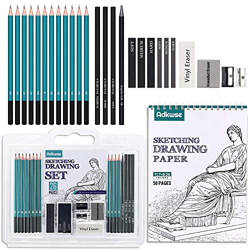 Adkwse Art Supplies, Sketching Drawing Kit Set with Shading Pencils for...