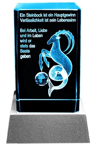Kaltner Präsente Sfeerlicht LED kaars/kristal glazen blok / 3D-lasergravure sterrenbeeld Steenbok