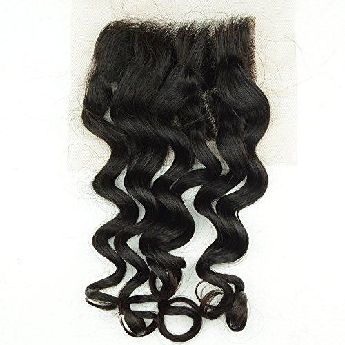 Noble Reine Cheveux indiens vierges Cheveux bouclés Fermeture Courroie Deep Top 10 d'une fermeture Décolorés Dentelle Suisse 1pièce
