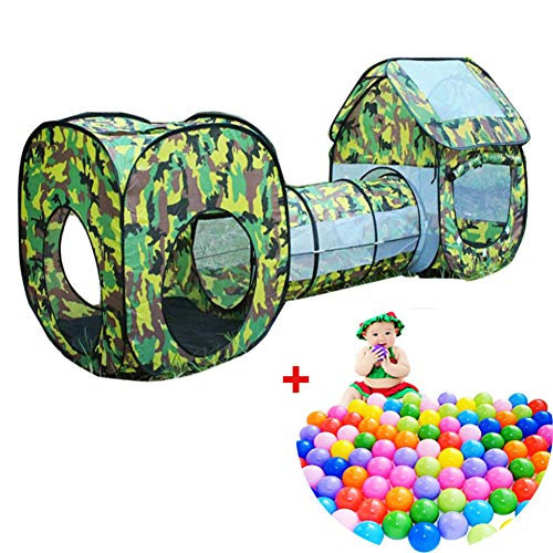 3 in 1 Kids Camouflage speelgoed Tent Baby Square Cubby Tipi Pop Up Tunnel Kruipen Tent Sets Kinderen Outdoor Indoor Playhouse Hut (Inclusief 200 ballen)