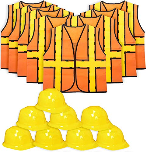 Tigerdoe Kids Party Dress Up - 8 Hats with 8 Vests- Construction Party - Birthday Favors (8 Construction Hats & 8 Construction Vests) Yellow