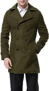 Men's Double Breasted Overcoat Pea Coat Classic Wool Blend Slim Fit Winter Coat