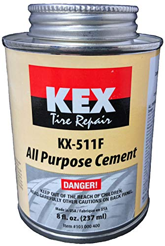 KEX Cold Vulcanizing Rubber Tire and Tube Patch Plug Repair Cement Glue 8oz can