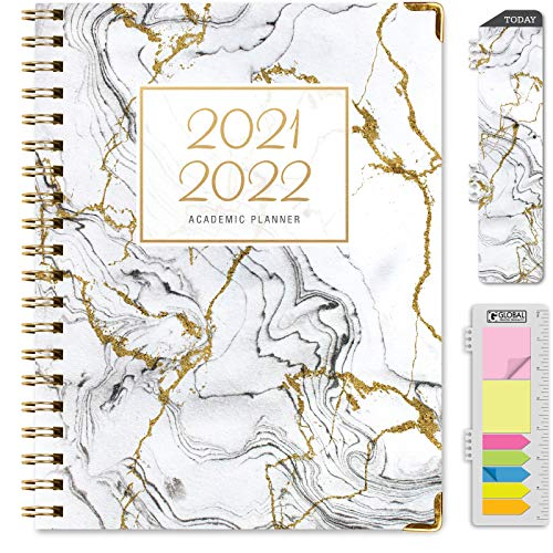 """HARDCOVER Academic Year 2021-2022 Planner: (June 2021 Through July 2022) 8.5""""x11"""" Daily Weekly Monthly Planner Yearly Agenda. Bookmark, Pocket Folder and Sticky Note Set (Grey & Gold Marble)"""